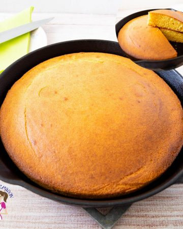 A pan with cornbread.