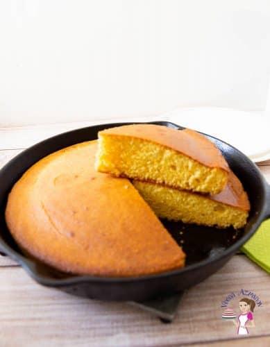 A pan with buttermilk cornbread.