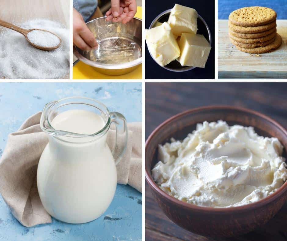 A collage of the ingredients needed to make a cheesecake.