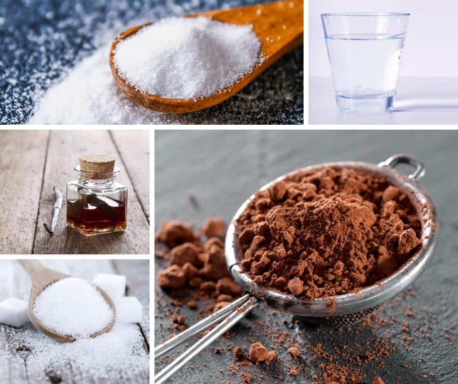 A collage of the ingredients for making chocolate syrup.