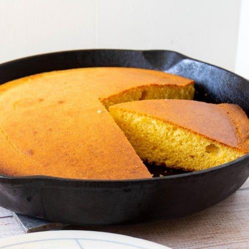 Skillet with cornbread buttermilk.