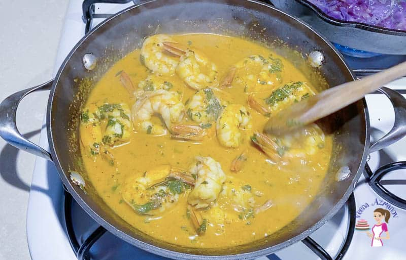 Cook the prawns with coconut curry for just 10 mins