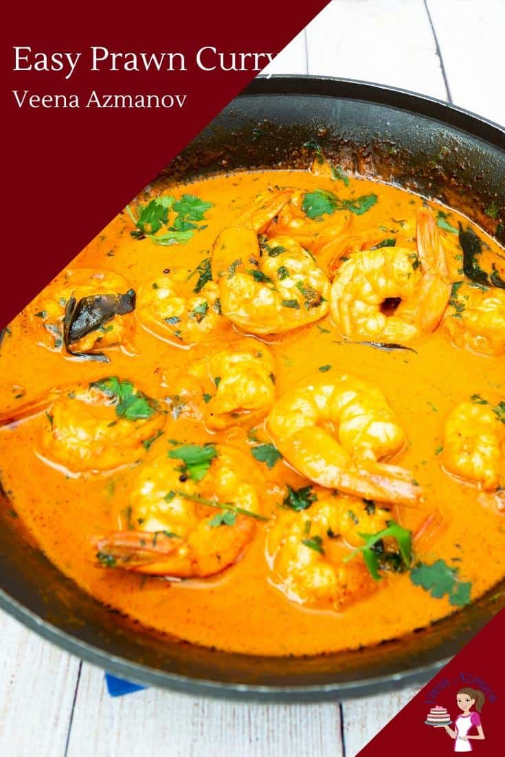 A close up of a pan with prawn curry.