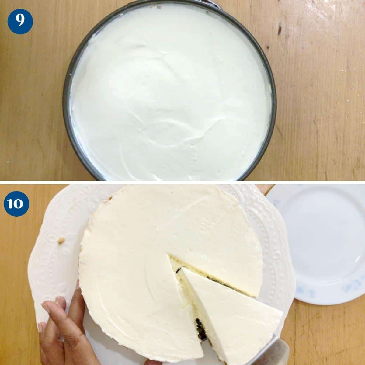 Progress pictures collage for ice cream cheesecake.