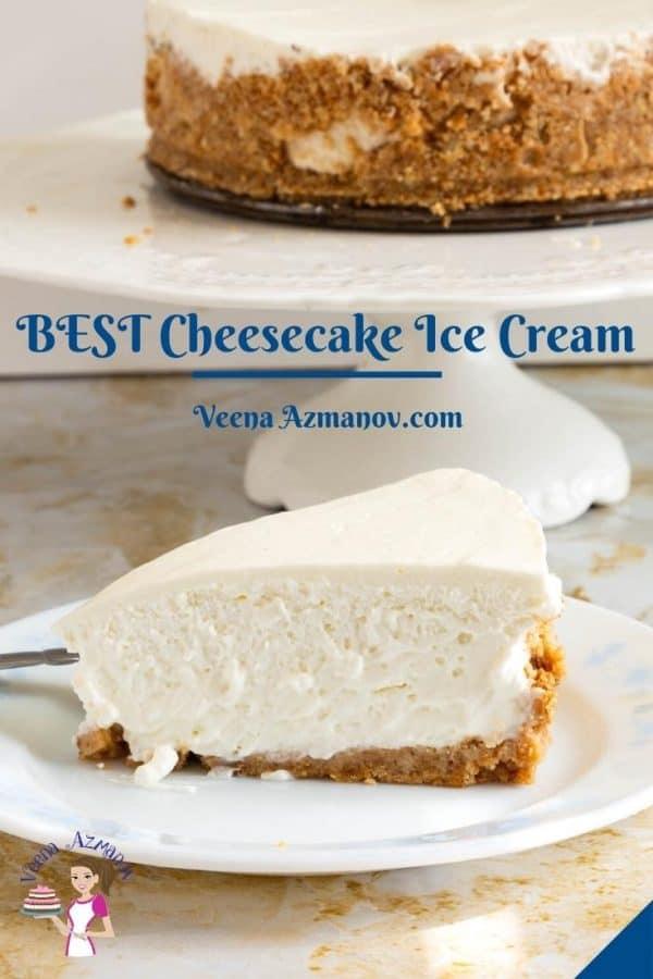 Pinterest image for ice cream cheesecake.