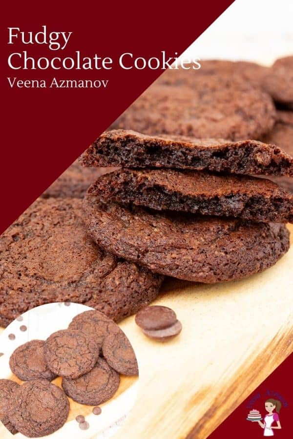 Cookies on a wooden board, chocolate flavor with fudge centers