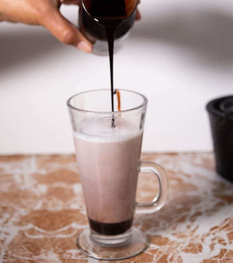 Homemade syrup made with chocolate