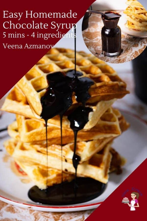 A stack of waffles with chocolate syrup on a plate.