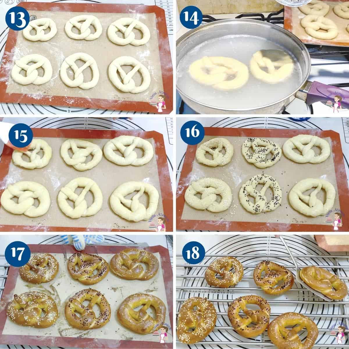 Progress pictures collage for baking pretzels.