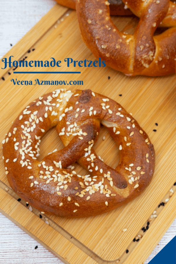 Pinterest image for homemade pretzels.
