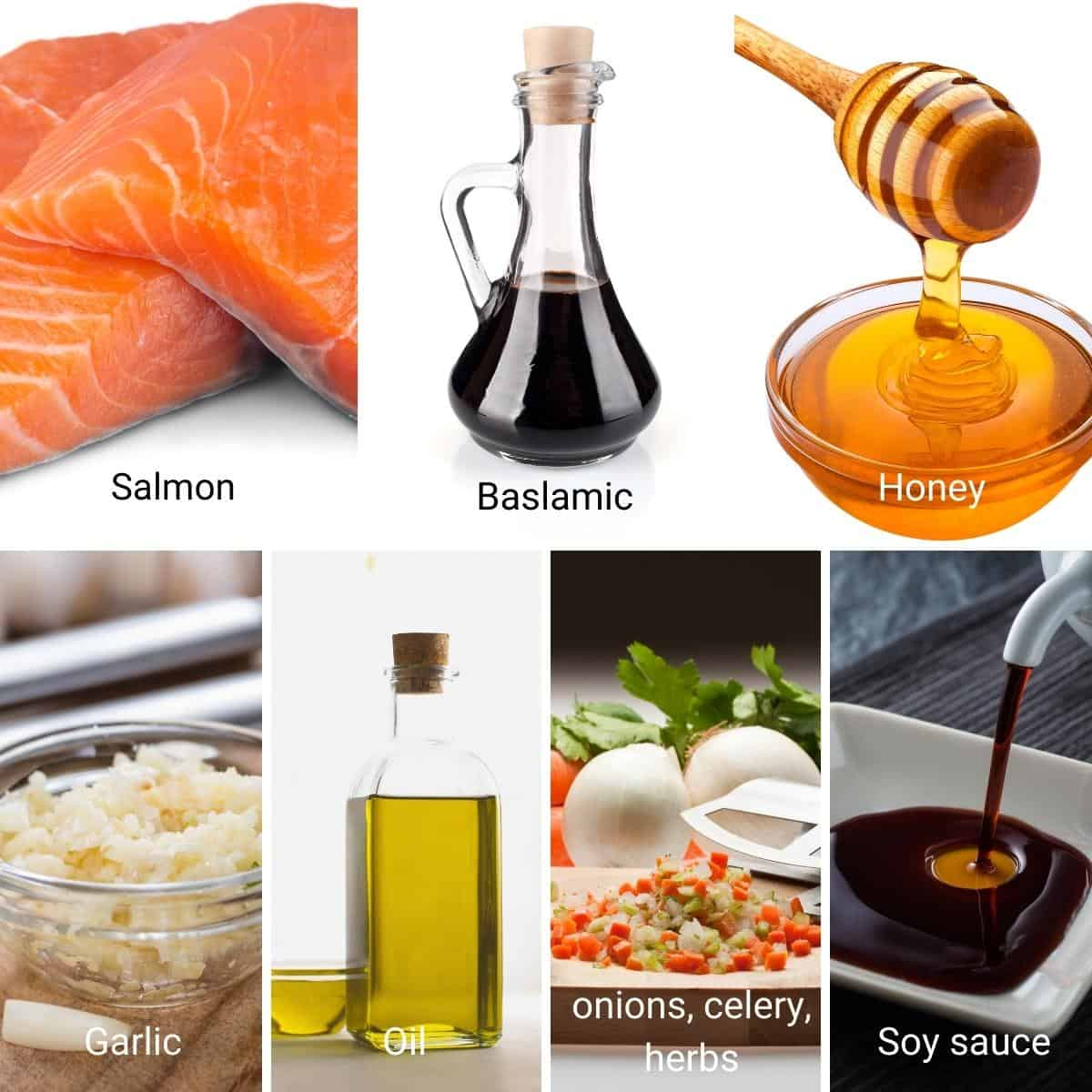 Ingredients shot collage for balsamic glaze salmon.