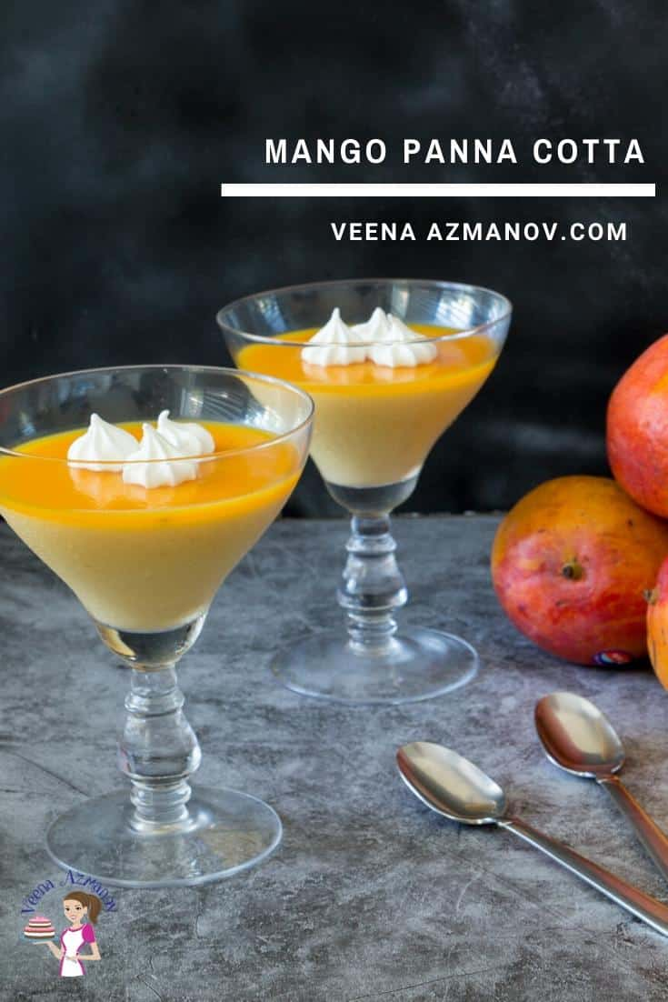 Two wine glasses with Mango Panna cotta