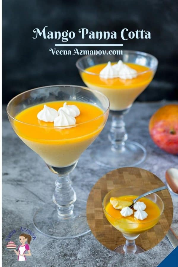 Pinterest image for panna cotta with mangoes.