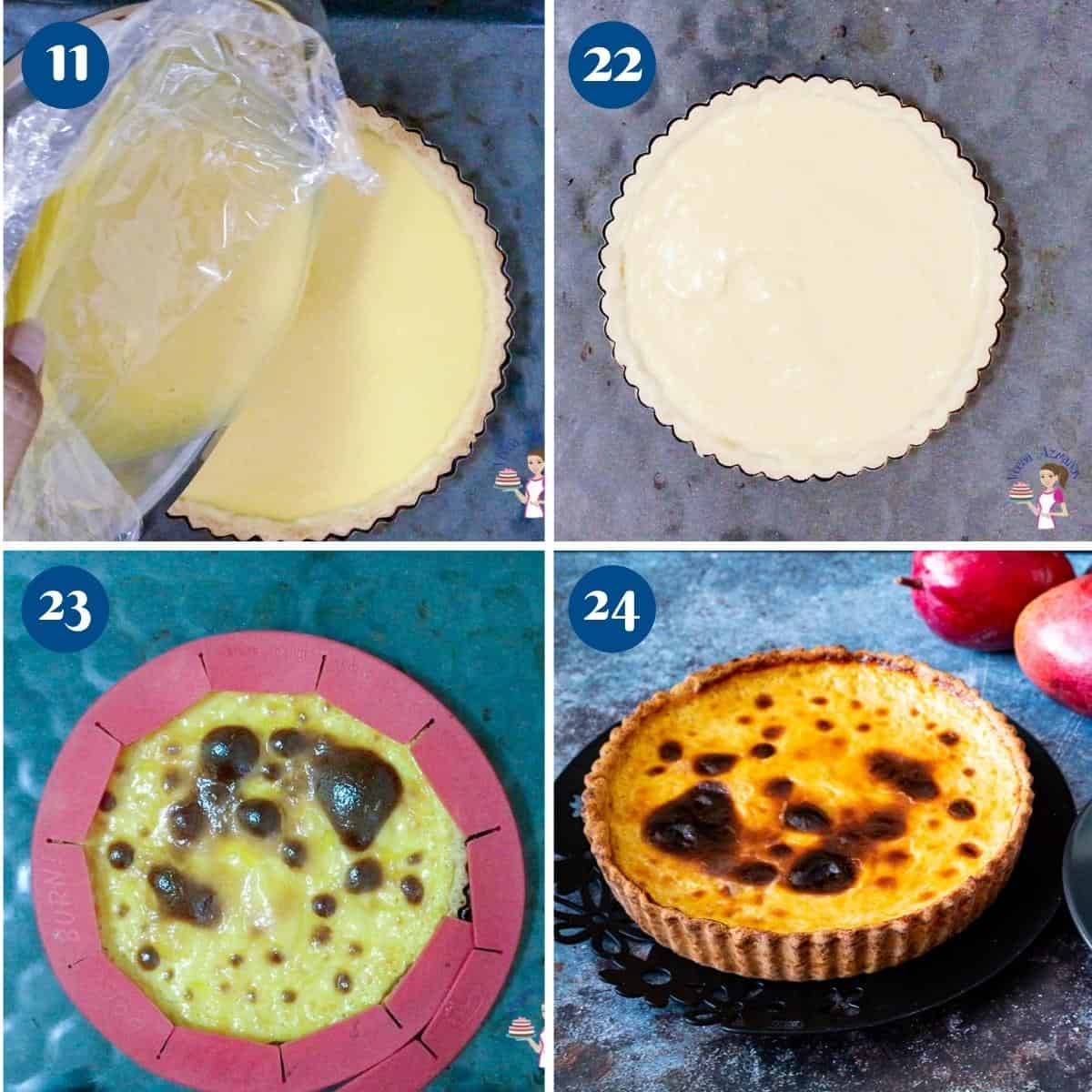 Progress pictures collage for mango Parisian flan.