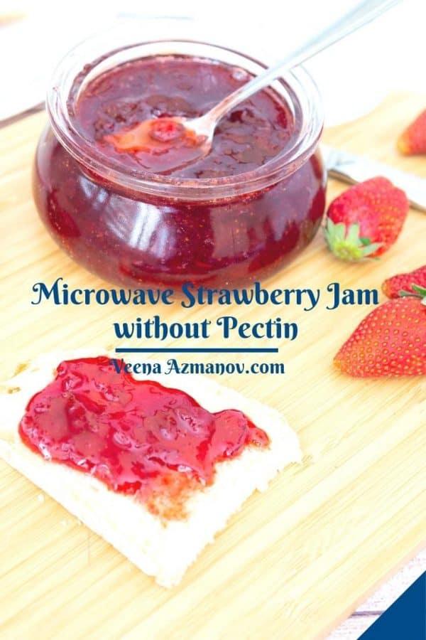 Pinterest image for strawberry jam.