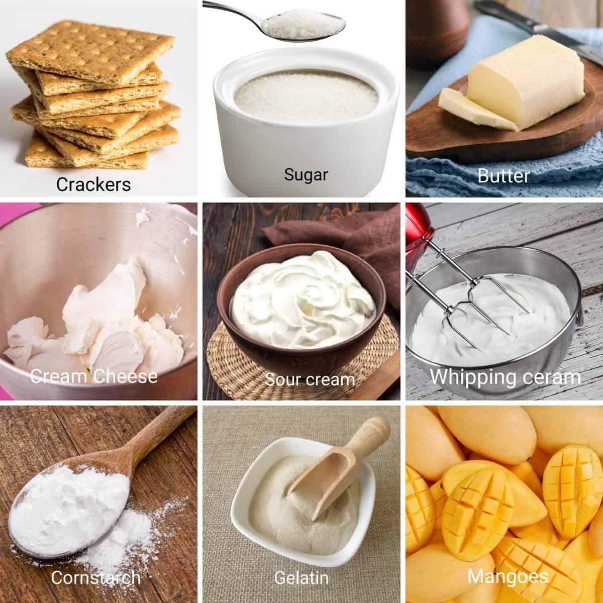 Ingredients shot collage for mango cheesecake.