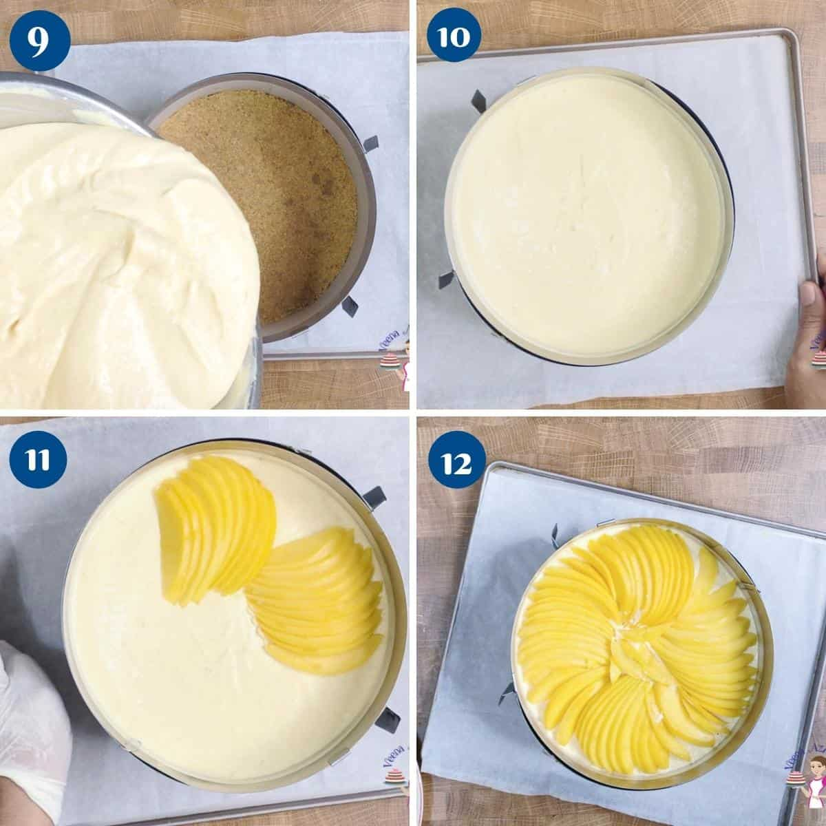 Progress pictures collage for no bake cheesecake with fresh mangoes.
