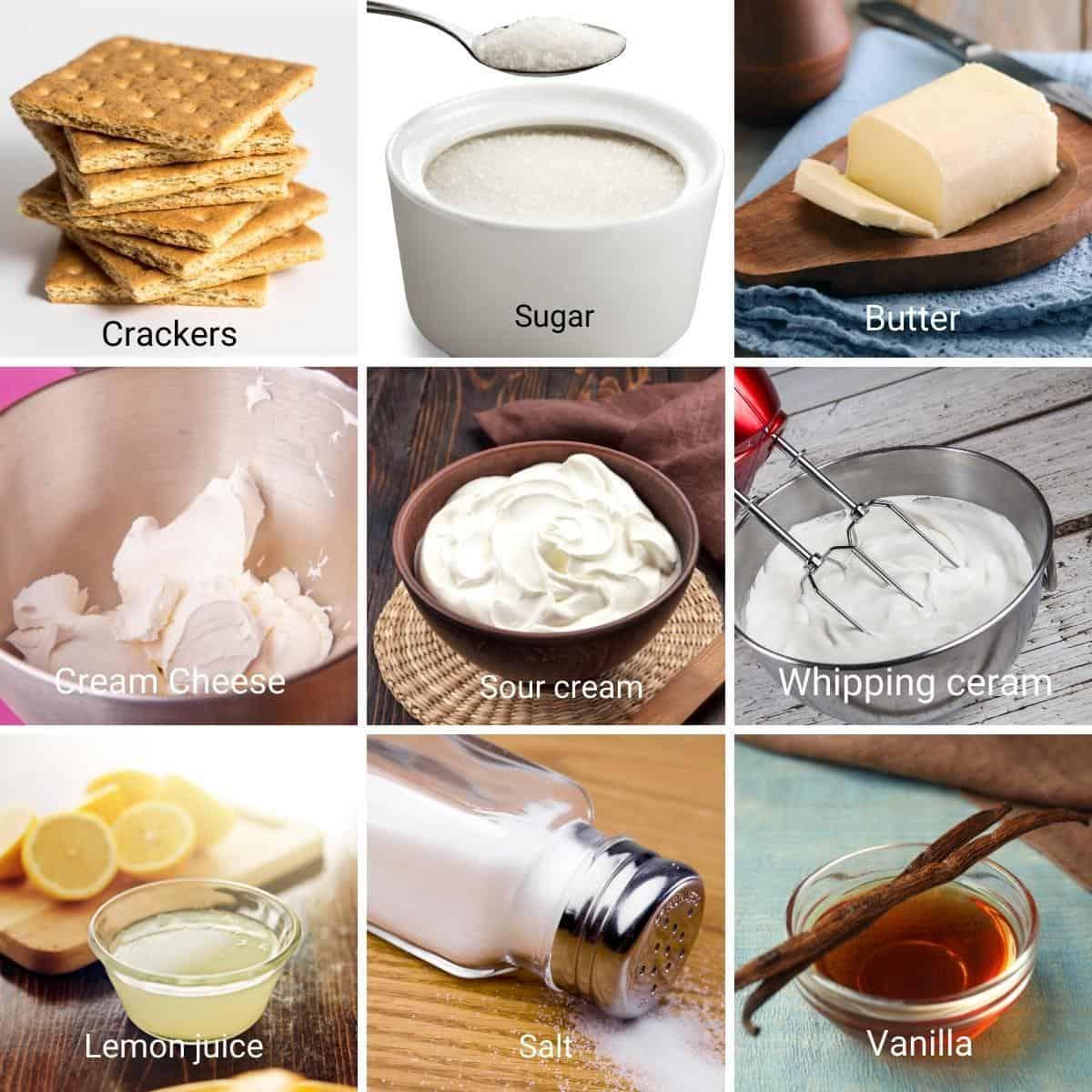 Ingredients shot collage for no bake cheesecake recipe.