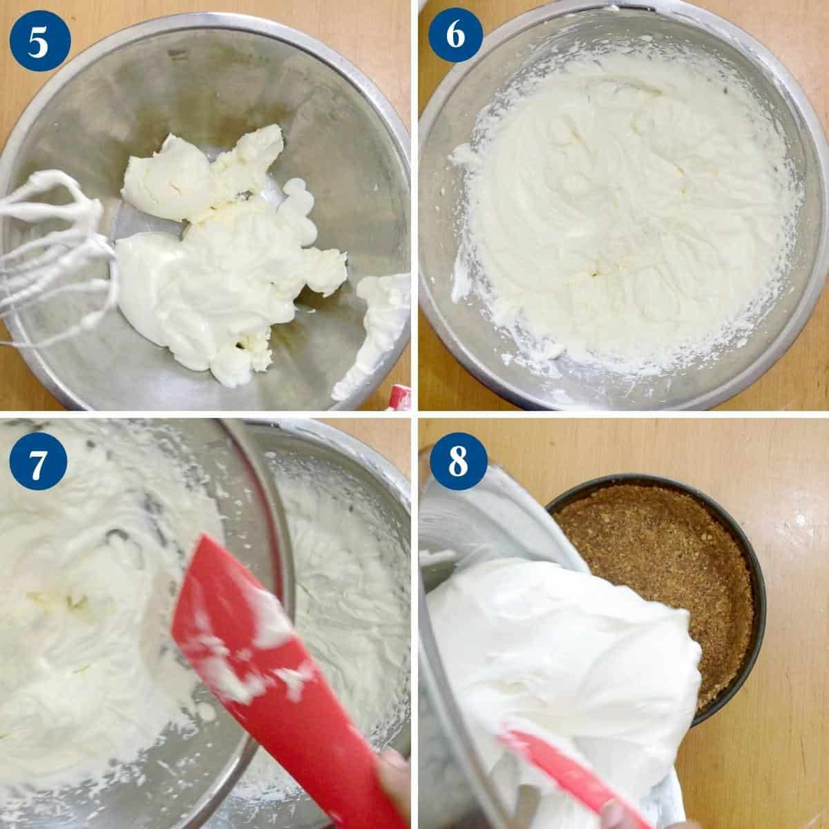 Progress pictures collage making cheesecake batter.