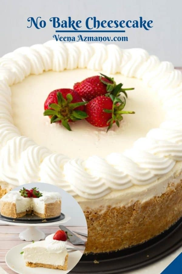 Pinterest image for frosted no bake cheesecake.