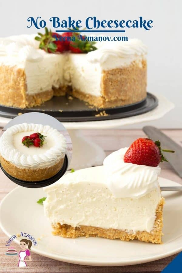 Pinterest image for frosted cheesecake.