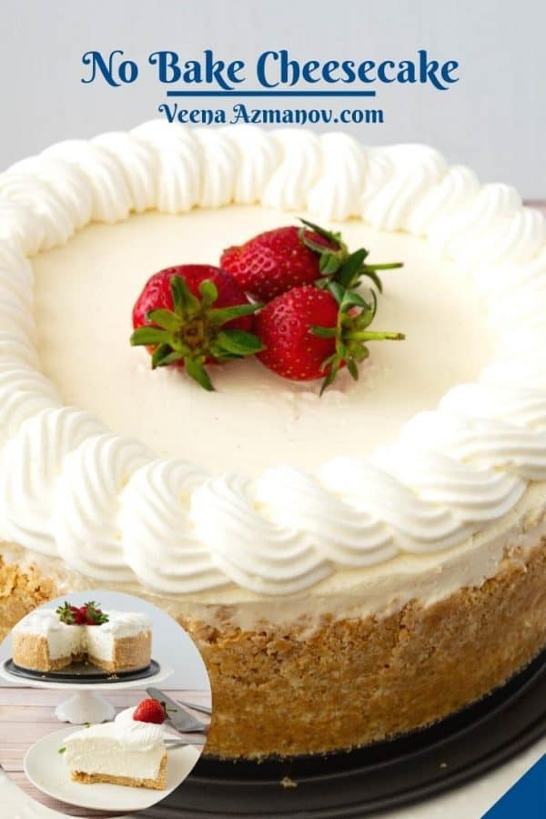 Pinterest image for no bake cheesecake.
