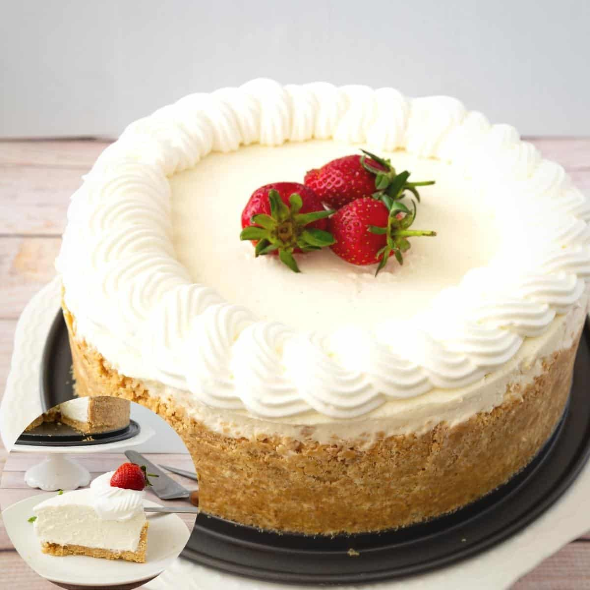 A frosted cheesecake on a cake stand.