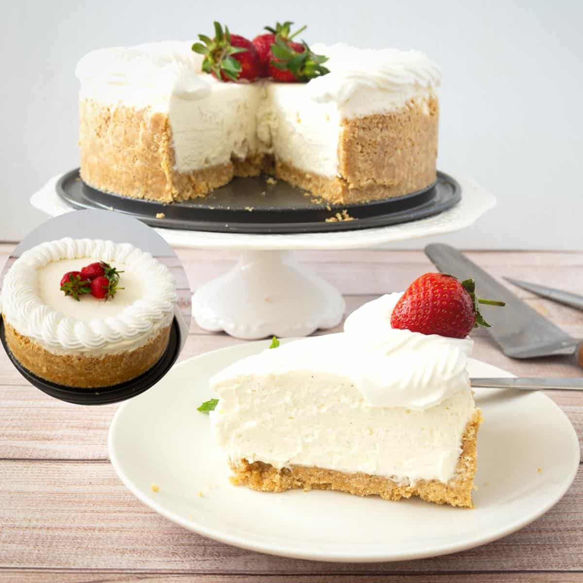 Slice of cheesecake on a cake stand.