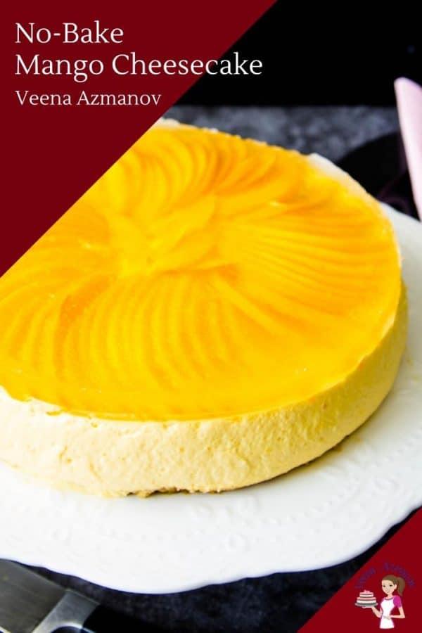 A jello topped no bake cheesecake with fresh mango slices