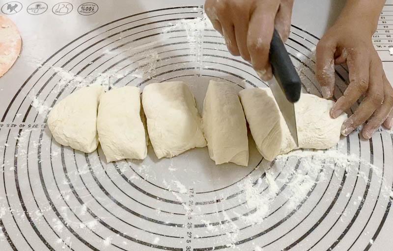 Prepare the no-knead bread to make flatbread
