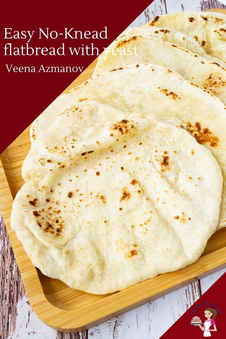 This flatbread recipe uses six ingredients including yeast and needs only 30 minutes to rise. You don't need to knead it and yet it produces a soft, tender flatbread that's perfect for wraps and spreads as well as with BBQs and grills such as shawarma or hummus. #flatbread #flatbreadrecipe #bread #flatbread #breadrecipes #nokneadflatbread via @Veenaazmanov