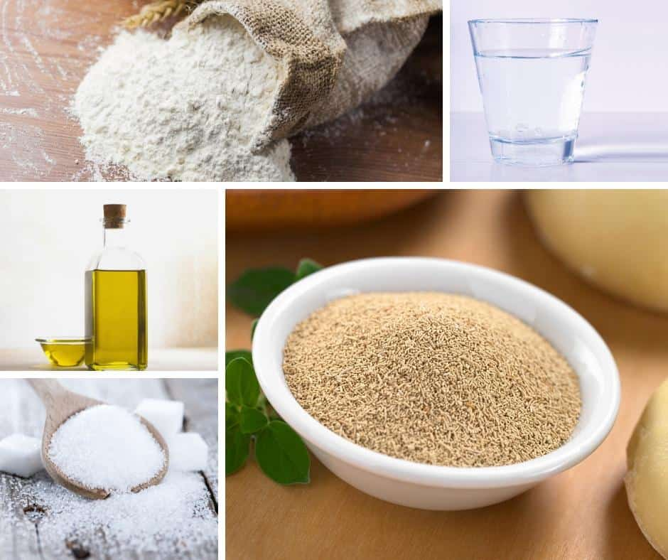 A collage of the ingredients for pizza dough.