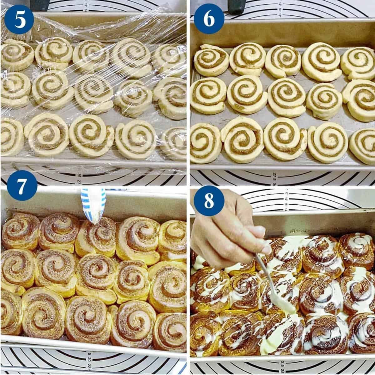 Progress pictures baking the cinnamon sugar rolls.