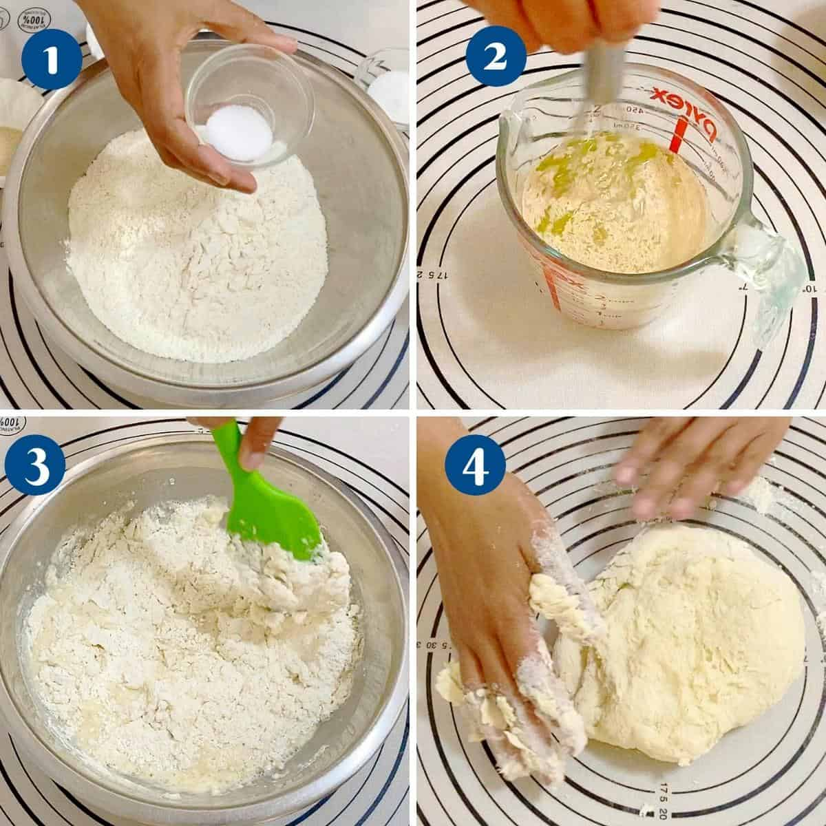 Progress pictures preparing the pizza dough.