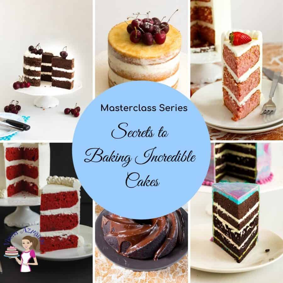 A collage of sliced layer cakes.
