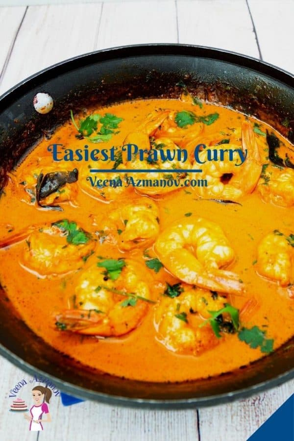 Pinterest image for curry with shrimps and prawns.