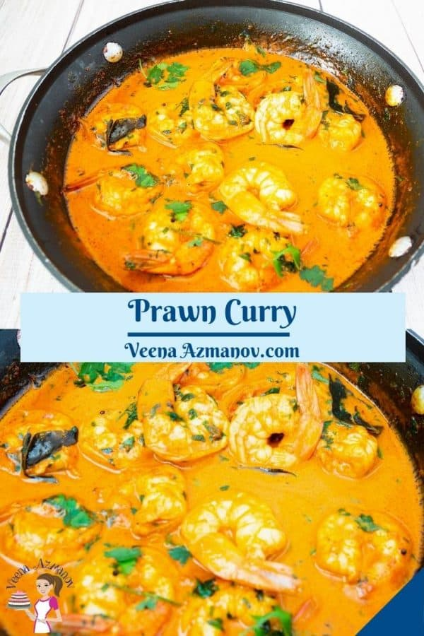 Pinterest image for shrimp prawn curry.