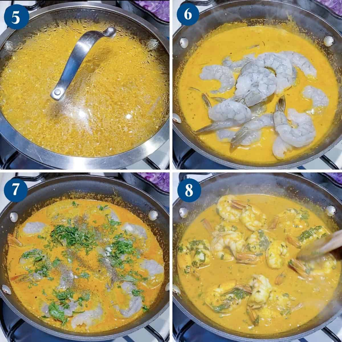 Progress pictures for shrimp prawn curry.