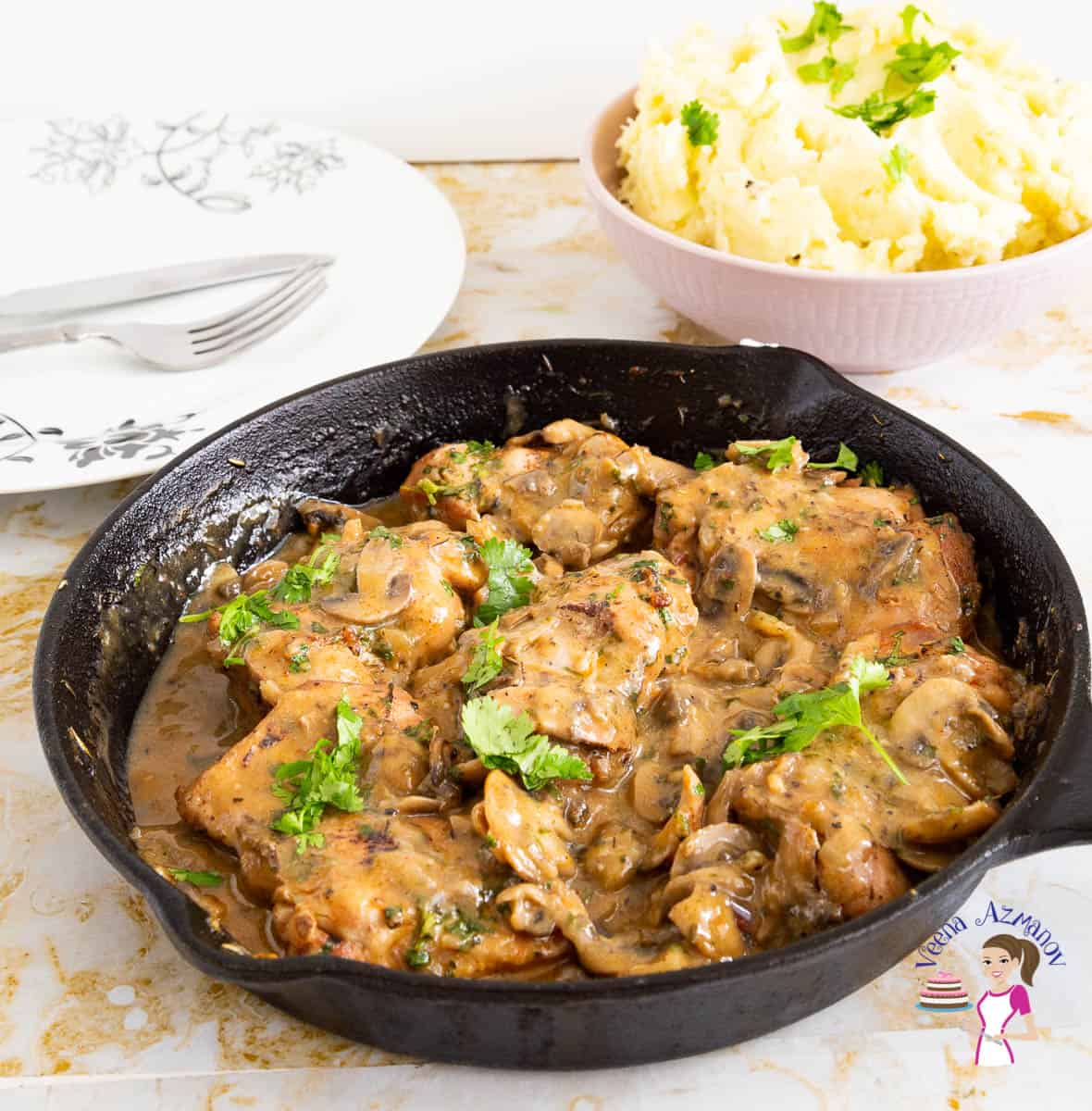 Homemade Skillet Chicken cooked with Mushroom Gravy in just 20 minutes.