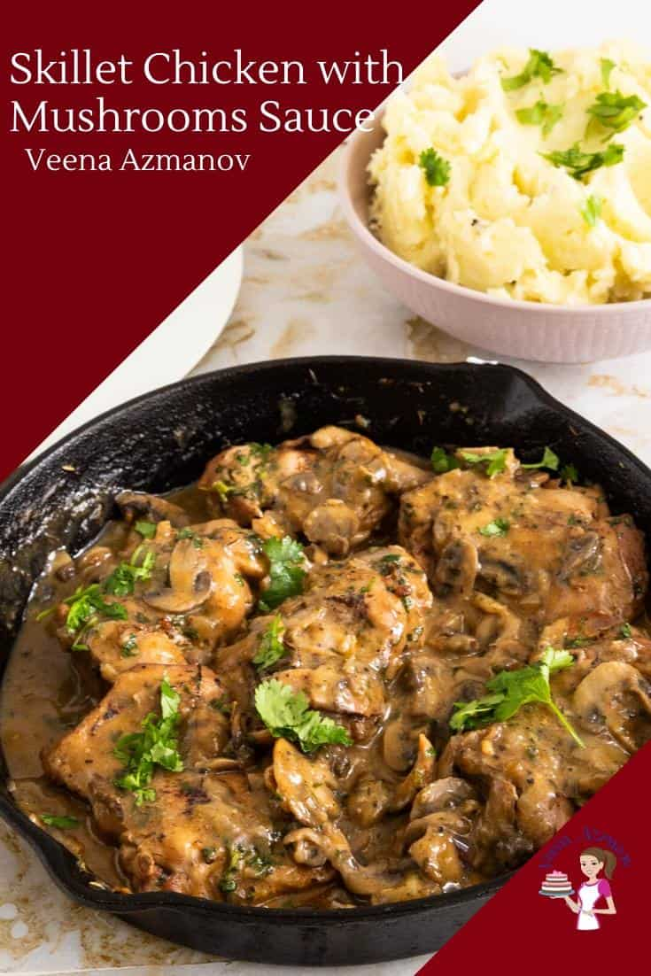 This chicken with mushroom sauce is a winning combination every single time. Tender pieces of chicken are cooked in a creamy mushroom sauce to make a delicious skillet meal. Absolute comfort food and get done in only 20 minutes. Serve it over pasta, noodles or mashed potatoes. #skillet #chicken #mushrooms #onepot #onepan #dinner #lunch #chickenrecipes #quickmeals #20mins via @Veenaazmanov