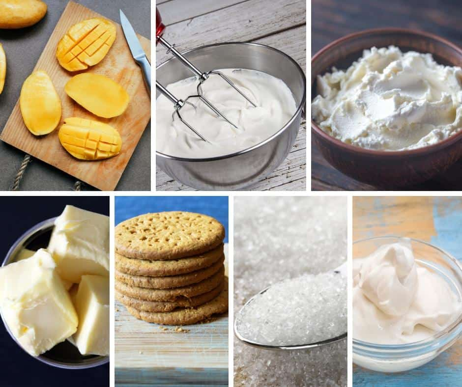 A collage of the ingredients for a mango cheesecake.