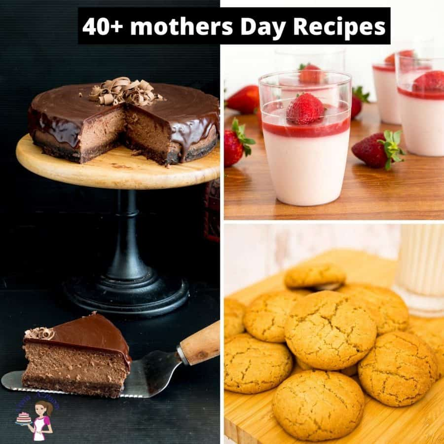 A collage of recipes for Mother\'s Day.