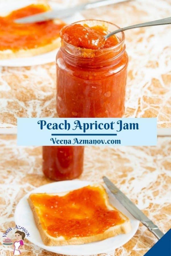 Pinterest image for apricot peach jam.