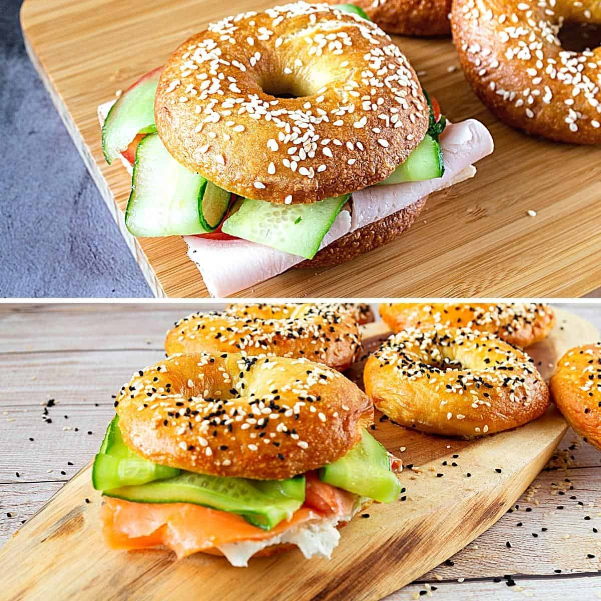Two bagel sandwiches one with pastrami or lox.