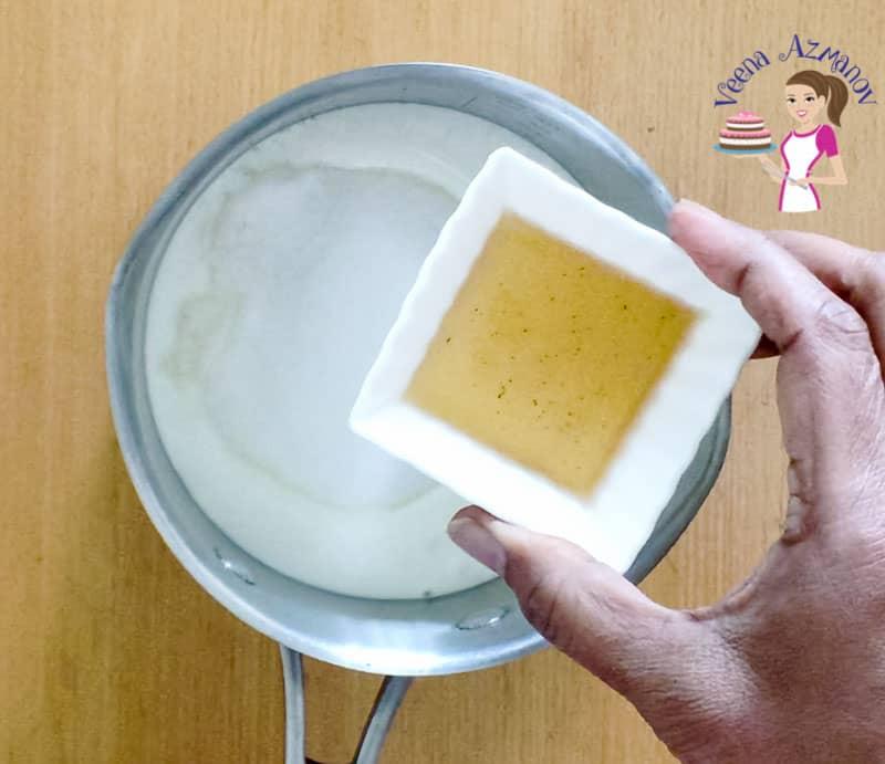 Add the vanilla the cream for the panna cotta