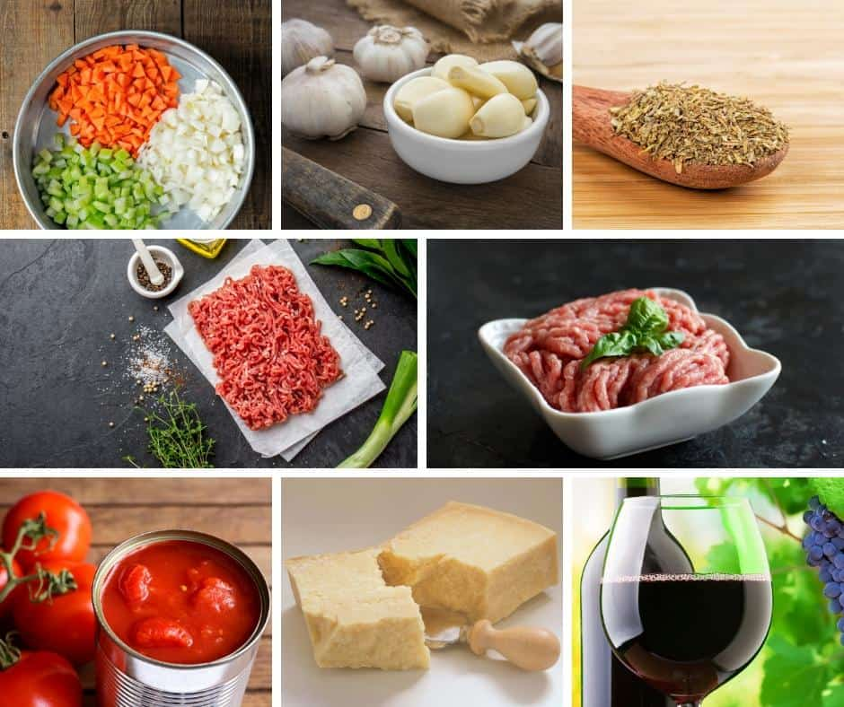 A collage of the ingredients for a Bolognese sauce.