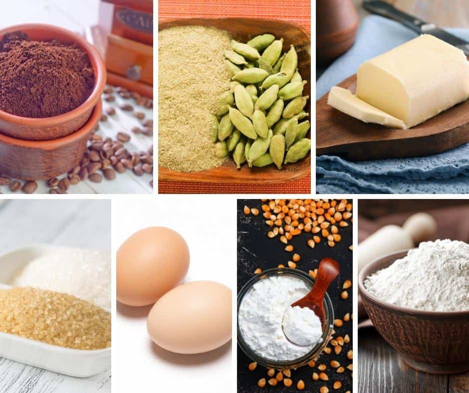 A collage of the ingredients for cardamon cookies.