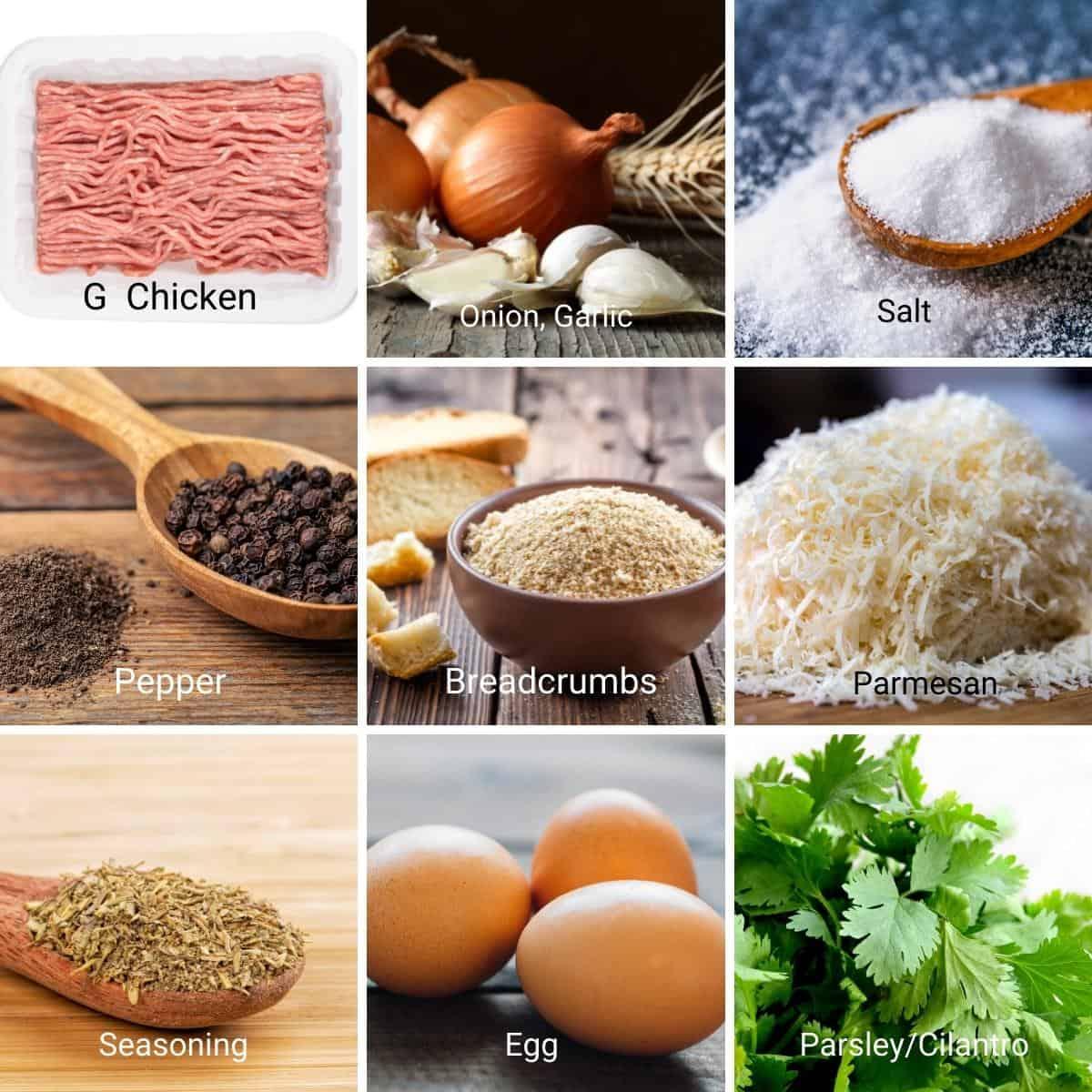 Ingredients shot collage for chicken patties.