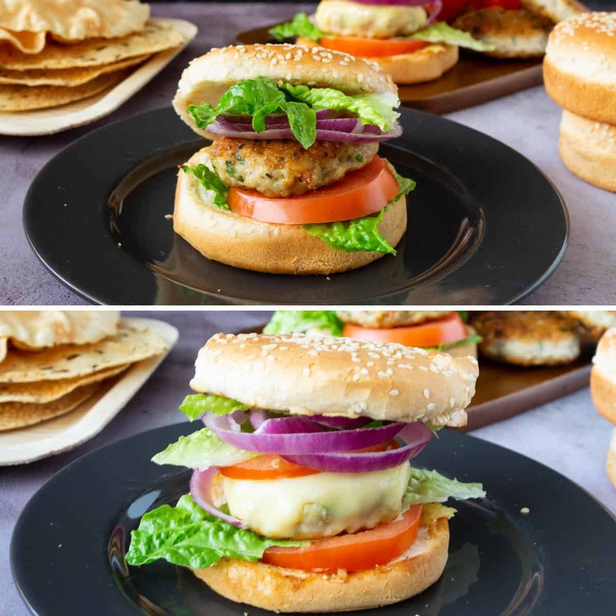 A collage with chicken burger patties on a plate.