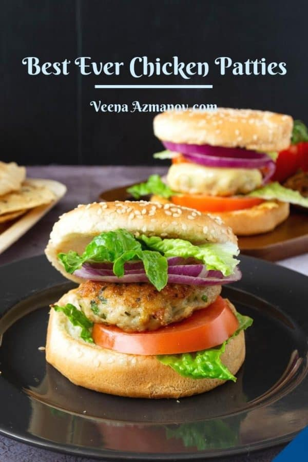 Pinterest image for chicken burgers.